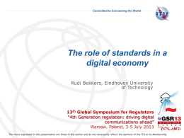 Role of Standards in a Digital Economy