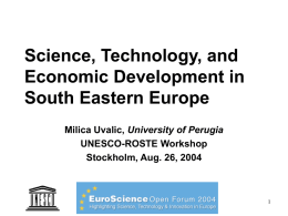 Transition in SEE - Specific problems of Serbia and Montenegro