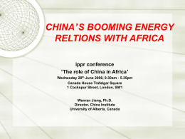china`s booming energy reltions with africa