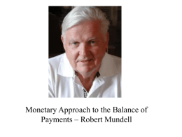 Lecture VIII Monetary Approach to the Balance of