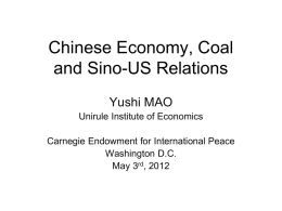 Chinese Economy, Coal and Sino-US Relations