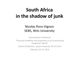 South Africa in the shadow of junk Nicolas Pons-Vignon