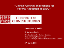 China`s Growth: Implications for Poverty Reduction in SADC