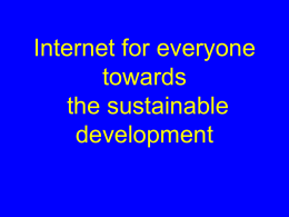 Internet for everyone towards the sustainable development