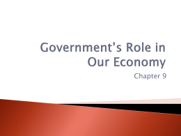 Government`s Role in Our Economy
