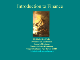 Introduction to Finance - Montclair State University