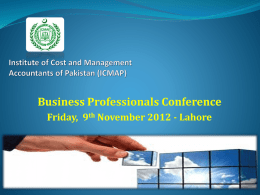 Business Professionals Conference Friday, 9 th November 2012