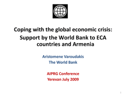 Support by the World Bank to ECA countries and Armenia