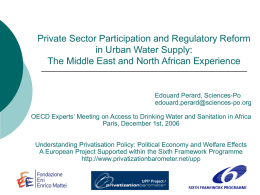 Privatization and regulatory reform in the water sector