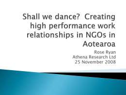 Shall we dance? Creating a high performance work relationships in