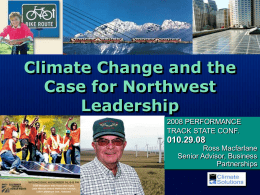 Climate Change and the Case for Northwest Leadership