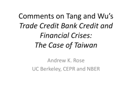 Comments on Tang and Wu`s Trade Credit Bank Credit