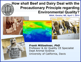 How shall Beef and Dairy Deal with the Precautionary Principle