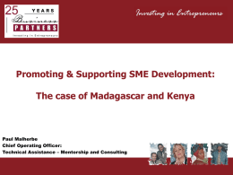 Promoting and supporting SME development – the case of Kenya