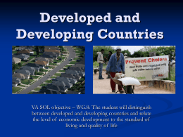 Developed and Developing Countries lecture