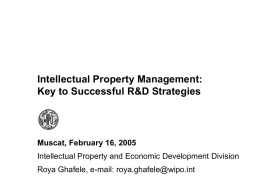 Intellectual Property Management: Key to Successful R&D