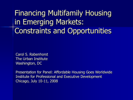 Financing Multifamily Housing in Emerging Markets