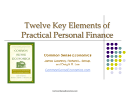 Twelve Key Elements of Practical Personal Finance