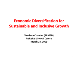 Economic Diversification for Sustainable and Inclusive