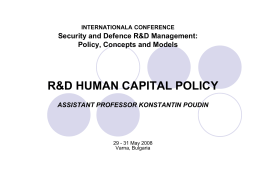 R&D HUMAN CAPITAL POLICY IN DEFENCE AND SECURITY