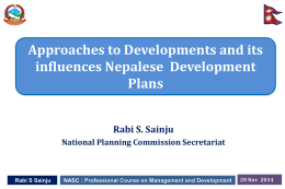 Approaches to Developments and its influences Nepalese