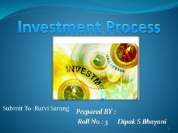 The Investment Environment