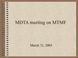MDTA meeting on MTMF