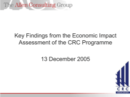 Key Findings from the Economic Impact Assessment of