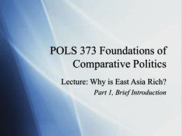 Why is East Asia Rich? - Cal State LA