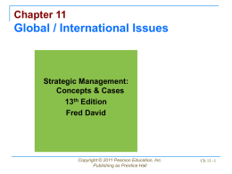 Chapter 11 Global / International Issues Strategic Management