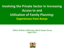 Kenya Involving the Private Sector.