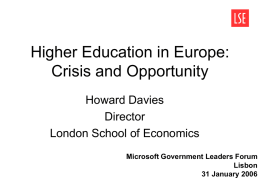 Higher Education in Europe: Crisis and Opportunity