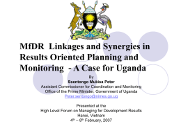 Linkages and Synergies in Results Oriented Planning and