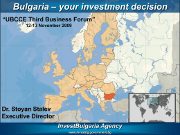Bulgaria – your investment decision Korea 20.10.2009