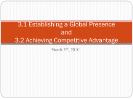 3.1 Establishing a Global Presence