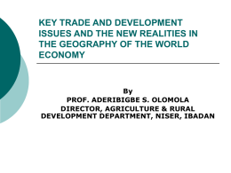 key trade and development issues and the new realities in the
