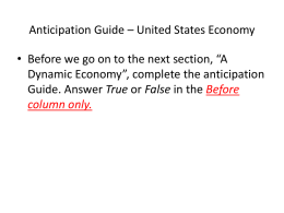 Anticipation Guide – United States Economy
