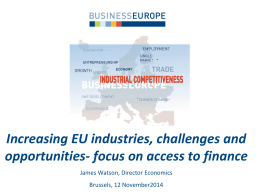 Increasing EU industries, challenges and opportunities