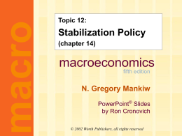 Mankiw 5/e Chapter 14: Stabilization Policy