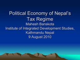 Political Economy of Nepal`s Tax Regime