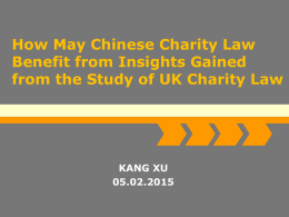 How May Chinese Charity Law Benefit from Insights Gained from the