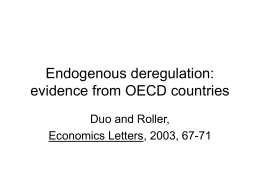 Bbb Endogenous deregulation: evidence from OECD countries