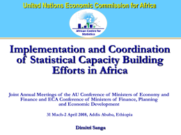 Implementation and Coordination of Statistical Capacity Building