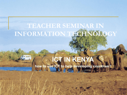 ICT in Kenya - how to use ICT to help developing countries?