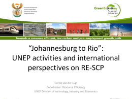 SA Green Economy Summit UNEP SCP Presentatio