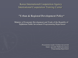 "Urban & Regional Development Policy"" Ministry of"