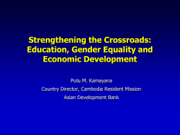 Strengthening Crossroads: Achieving Millennium Development Goals