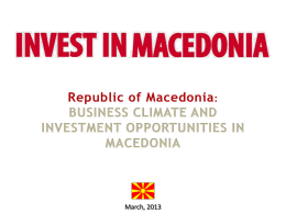 Republic of Macedonia - Budapest International Business