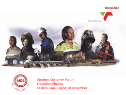 Operation Phakisa Projects - Transnet National Ports Authority