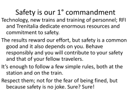 Safety is our 1° commandment
